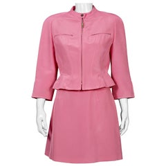 Vintage MUGLER Candy Pink Jacket Skirt Suit