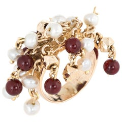 Vintage Multi Charm Ring Pearl Carnelian 14 Karat Gold Estate Fine Jewelry