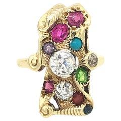 Vintage Multi-Color Gems and Diamond Ring 16 Karat Gold