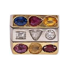 Vintage Multi Colored Sapphire and Diamond Square Signet Ring 18k Yellow Gold