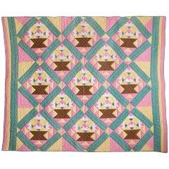Vintage Multicolored Patchwork Quilt