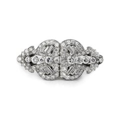Vintage Multi Diamond Original Double Clip Brooch in 18 Carat White Gold