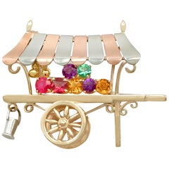 Vintage Multi-Gemstone and Yellow Gold 'Cart' Brooch by Alabaster and Wilson
