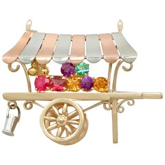 Vintage Multi-Gemstone and Yellow Gold 'Cart' Brooch