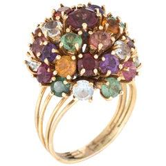 Vintage Multi Gemstone Dome Ring 18 Karat Gold Tourmaline Amethyst Jewelry