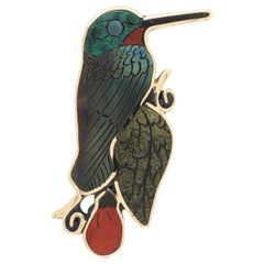 Vintage Multi Gemstone Inlay Hummingbird Pendant Brooch Pin Fine Estate Jewelry