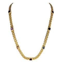 Vintage Multi-Gemstone Necklace Italy 14 Karat Gold