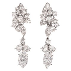 Vintage Multi Shape 6.65 Carat Diamond Platinum Dangle Drop Earrings