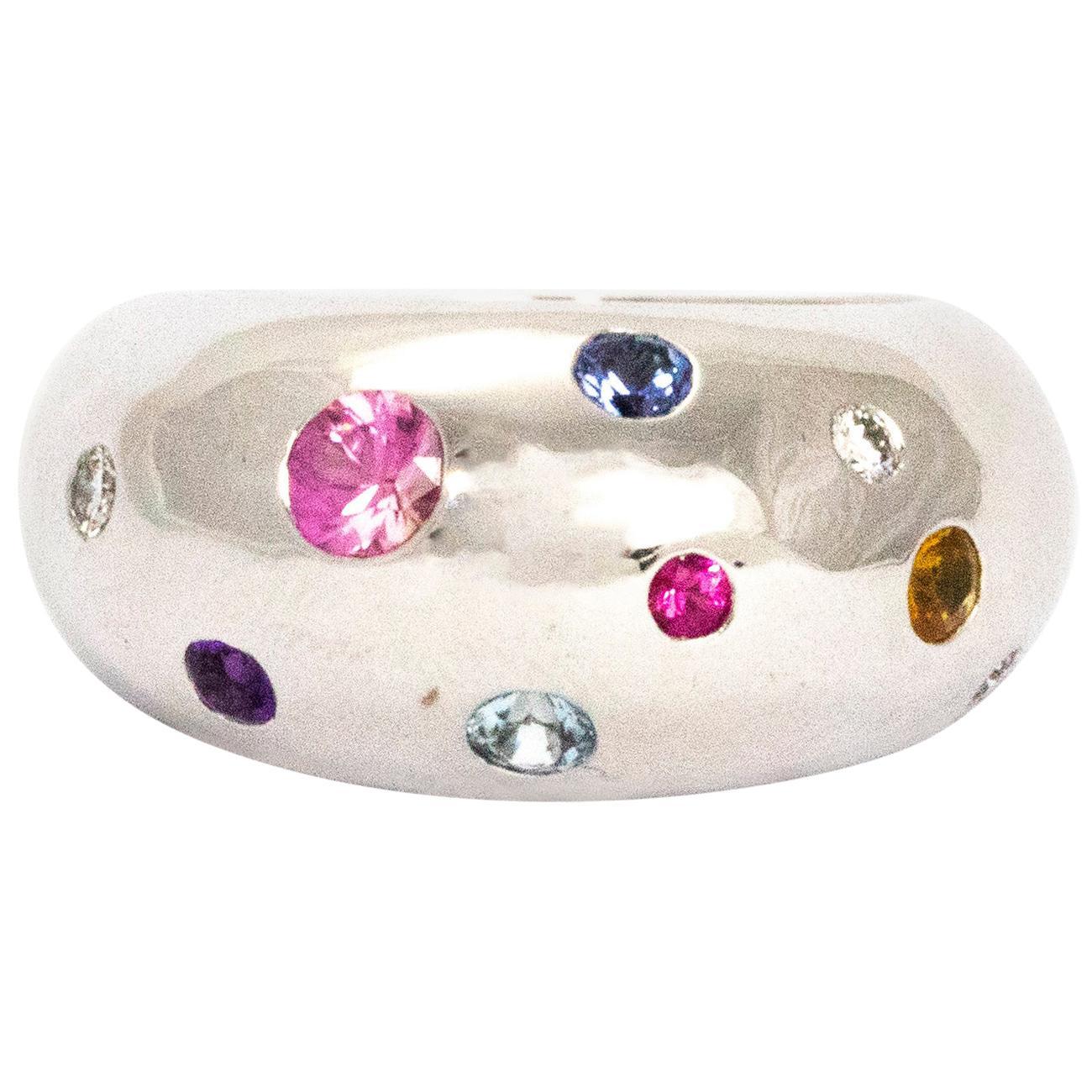 Vintage Multi-Stone 18 Carat White Gold Chunky Ring