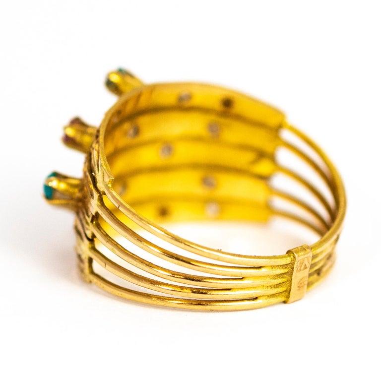 Modern Vintage Multi Stone 9 Carat Gold Ring