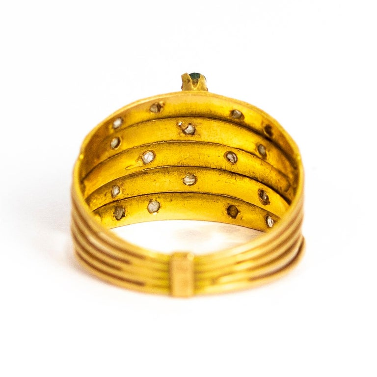 Vintage Multi Stone 9 Carat Gold Ring In Good Condition In Chipping Campden, GB