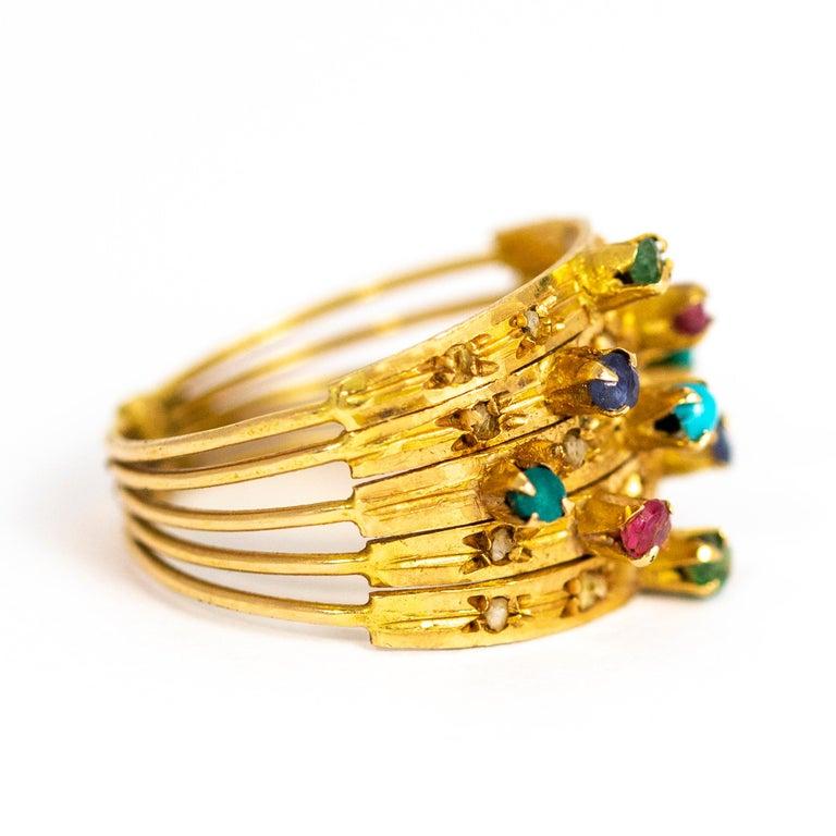 Women's or Men's Vintage Multi Stone 9 Carat Gold Ring