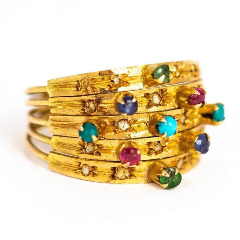 Vintage Multi Stone 9 Carat Gold Ring 1