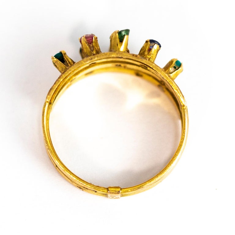 Vintage Multi Stone 9 Carat Gold Ring 2