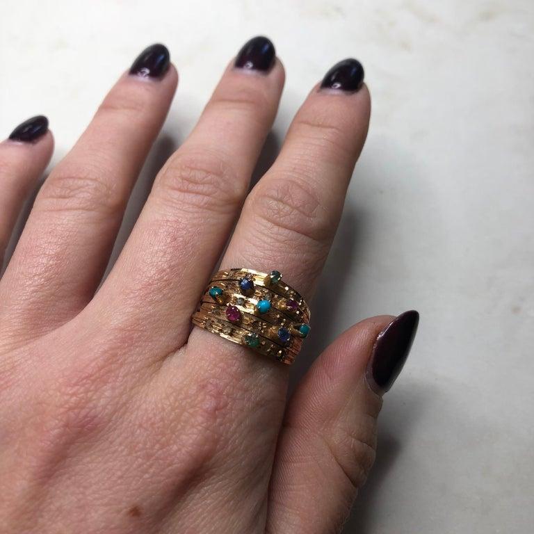 Vintage Multi Stone 9 Carat Gold Ring 3