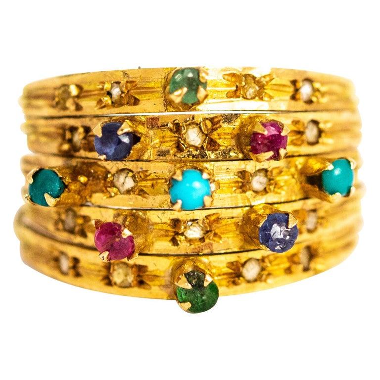 Vintage Multi Stone 9 Carat Gold Ring