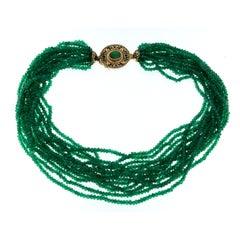 Vintage Multi-Strand Necklace Enamel Emerald Gold Clasp