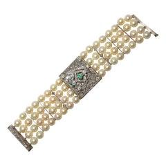 Vintage Multi-Strand Pearl Watch with Deco Design, Diamonds & Emeralds