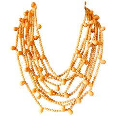 Vintage Multi-strand Pink Skin Coral Bib Necklace