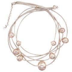 Vintage Multi Strand Sphere Sterling Silver Necklace Estate Find