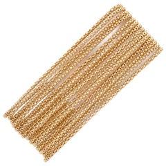 Vintage Multi-Strand Wide 18 Karat Gold Bracelet