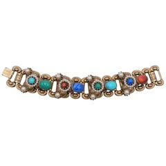 Vintage Multicolor Faux Gemstone Bracelet 1950's