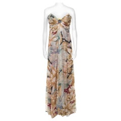 Vintage Multicolor Floral and Hexagon Print Layered Silk Chiffon Gown L