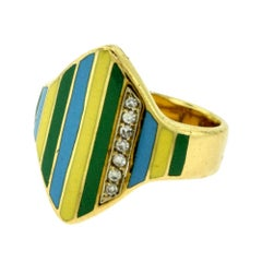 Vintage Multicolored Enamel and Diamond Yellow Gold Ring