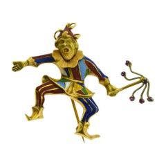 Vintage Multicolored Enamel in 18 Karat Yellow Gold Joker Clown Brooch Pin