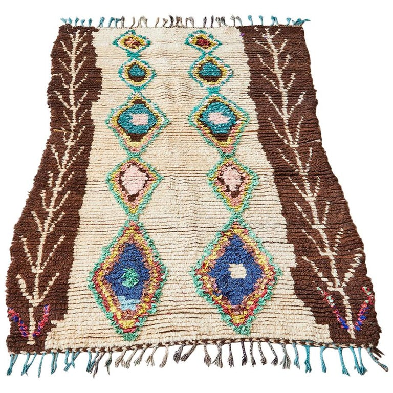 Vintage Multicolored Moroccan Ourika Rug For Sale At 1stdibs