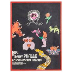 Vintage Multicolored Niki De Saint Phalle Exhibition Poster, Switzerland, 1969