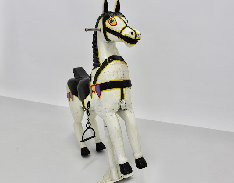 Vintage Multicolored Pair of Wood Carousel Horses Austria, circa 1890 For Sale 7