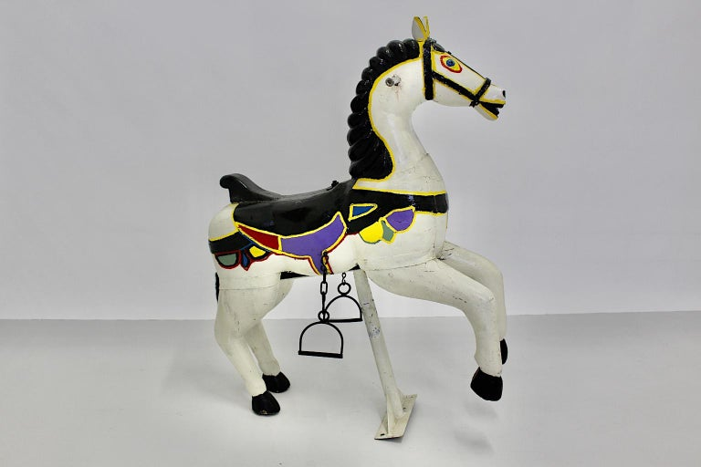 Vintage Multicolored Pair of Wood Carousel Horses Austria, circa 1890 For Sale 9