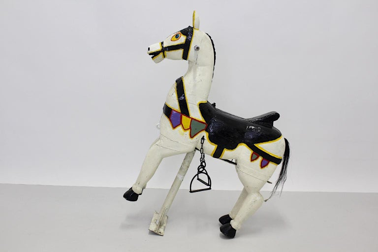 Vintage Multicolored Pair of Wood Carousel Horses Austria, circa 1890 For Sale 11