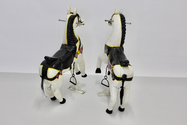Vintage Multicolored Pair of Wood Carousel Horses Austria, circa 1890 For Sale 1