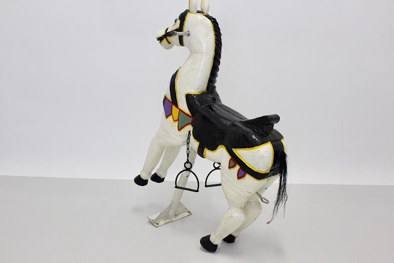 Vintage Multicolored Pair of Wood Carousel Horses Austria, circa 1890 For Sale 2