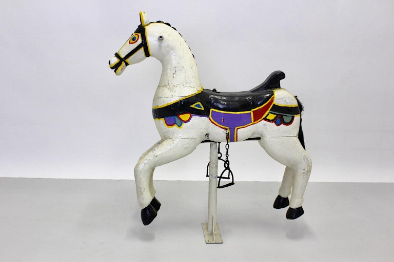 Vintage Multicolored Pair of Wood Carousel Horses Austria, circa 1890 For Sale 5
