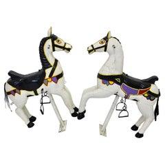 Vintage Multicolored Pair of Wood Carousel Horses Austria, circa 1890