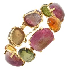 Vintage Multicolored Tourmaline Large Link Maine Bracelet