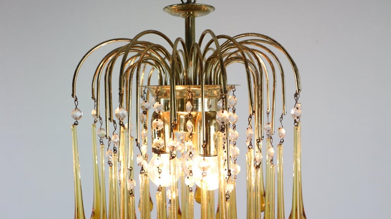 Vintage Murano Amber Glass Tear Drop Chandelier by Paolo