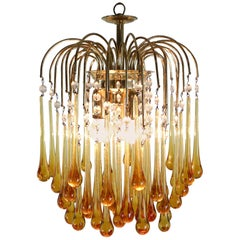 Vintage Murano Amber Glass Tear Drop Chandelier by Paolo Vanini, 1960 Italy