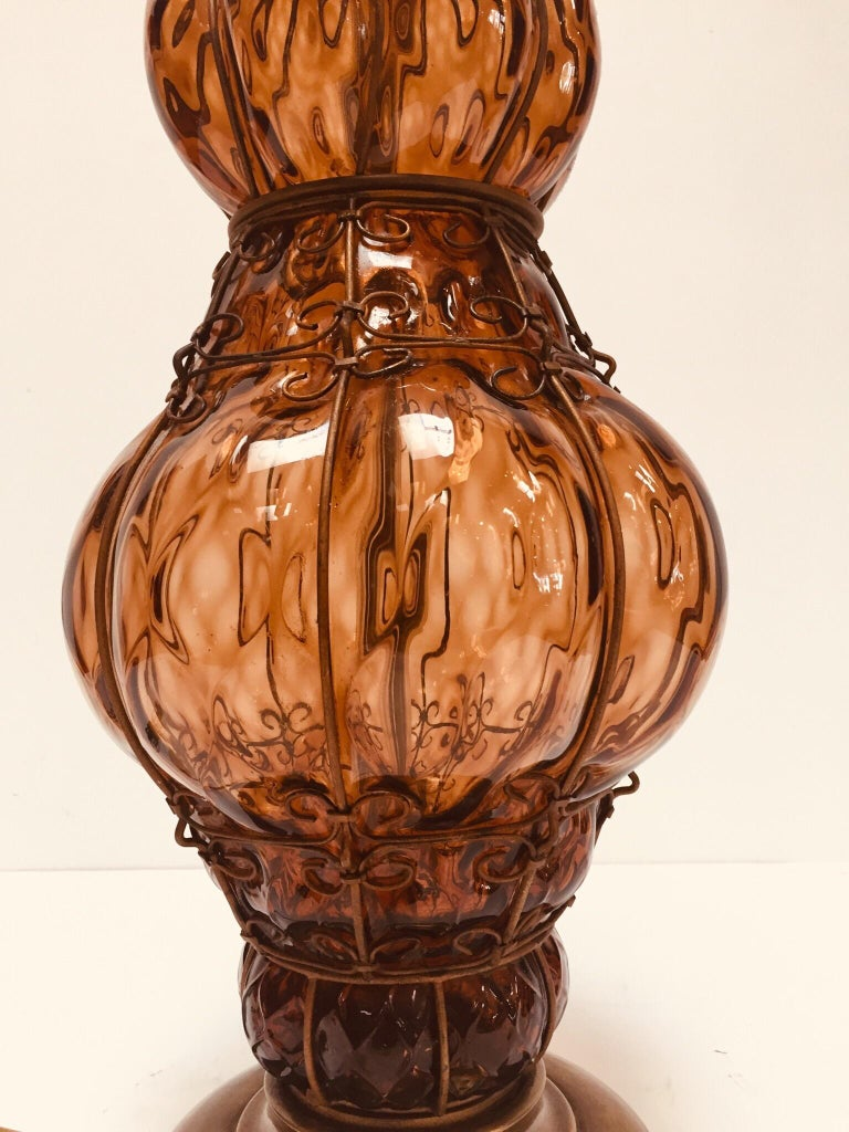 Vintage Murano Amber Venetian Italian Glass Table Lamp by Marbro For Sale 3