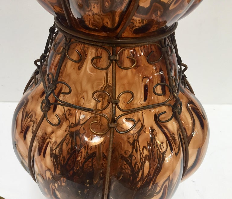 Mid-20th Century Vintage Murano Amber Venetian Italian Glass Table Lamp by Marbro For Sale