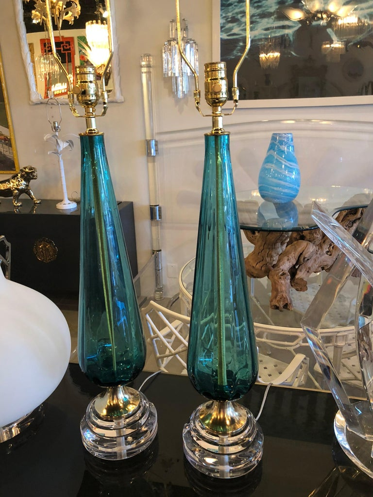 Vintage Murano Aqua Blue Glass Brass Lucite Table Lamp a Pair For Sale 5