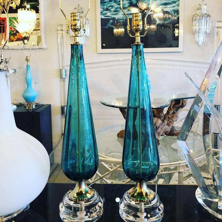 Vintage Murano Aqua Blue Glass Brass Lucite Table Lamp a Pair For Sale 9