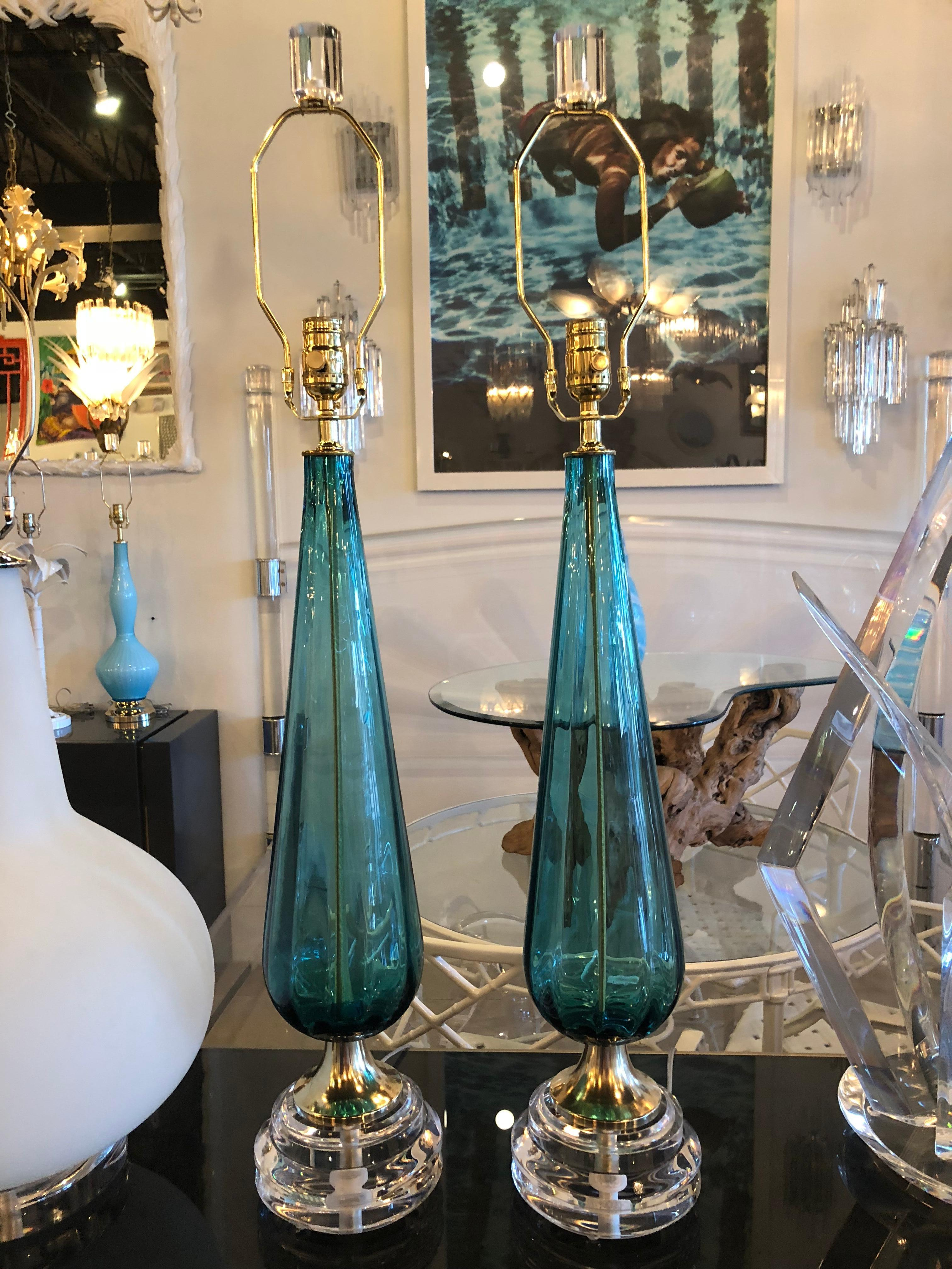 Vintage Murano Aqua Blue Glass Brass Lucite Table Lamp A Pair