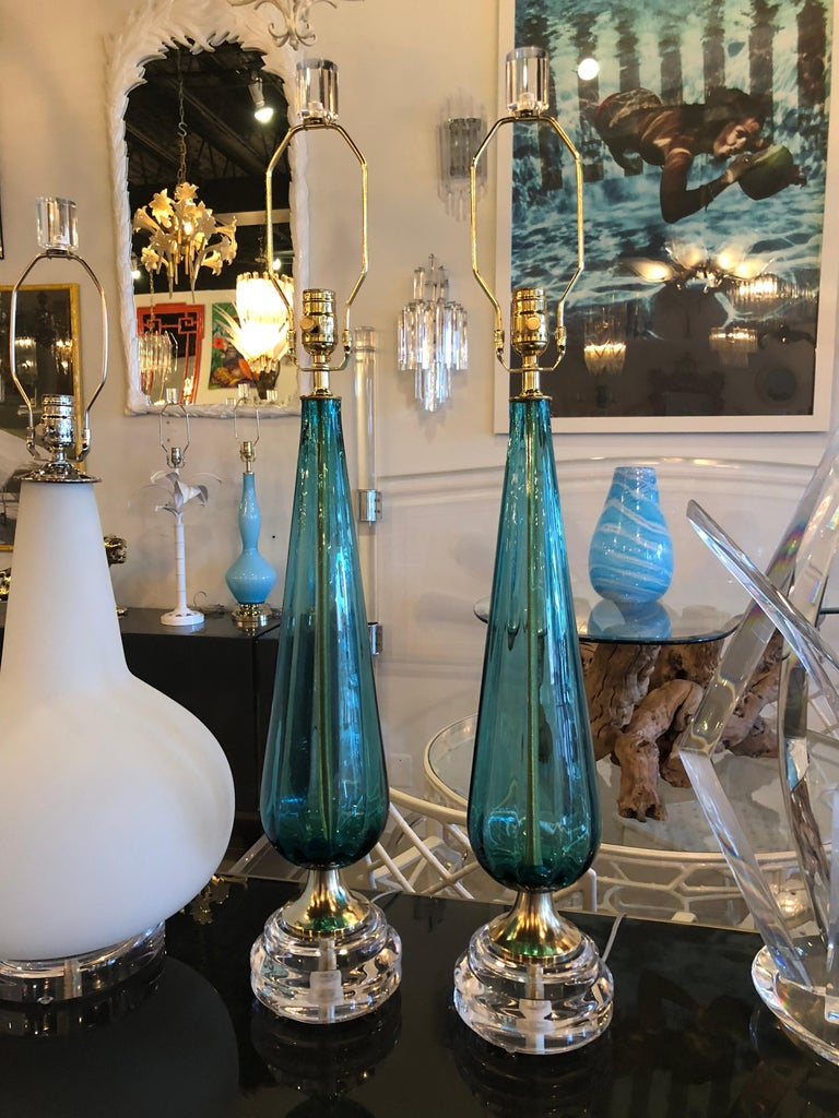 Mid-20th Century Vintage Murano Aqua Blue Glass Brass Lucite Table Lamp a Pair For Sale