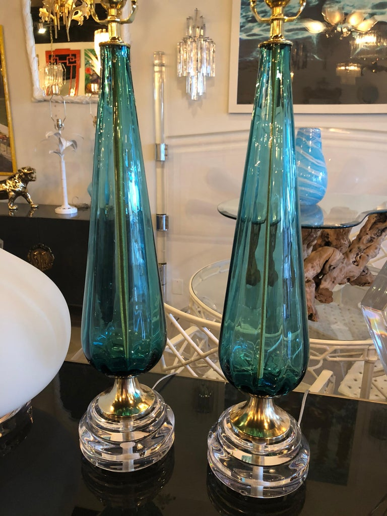 Vintage Murano Aqua Blue Glass Brass Lucite Table Lamp a Pair For Sale 1