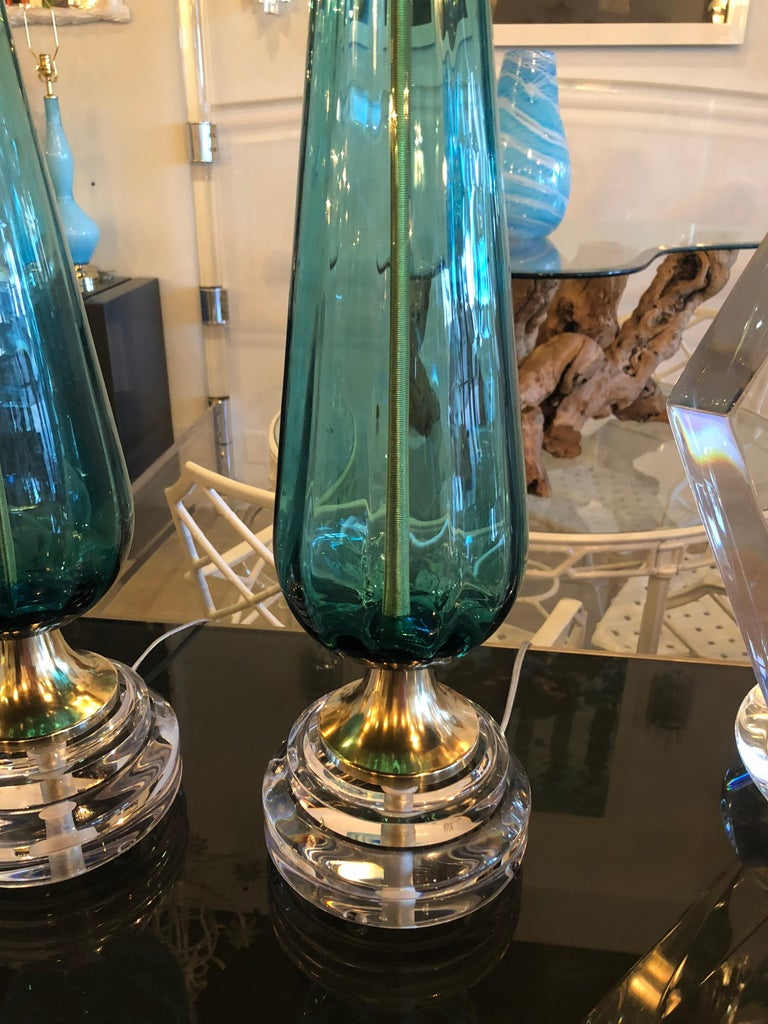 Vintage Murano Aqua Blue Glass Brass Lucite Table Lamp a Pair For Sale 2