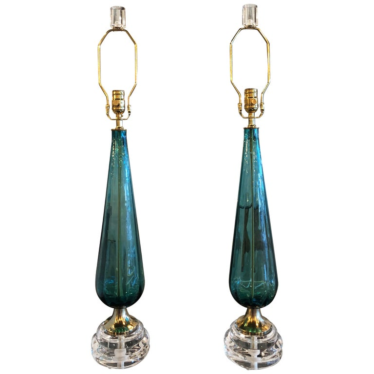 Vintage Murano Aqua Blue Glass Brass Lucite Table Lamp a Pair For Sale